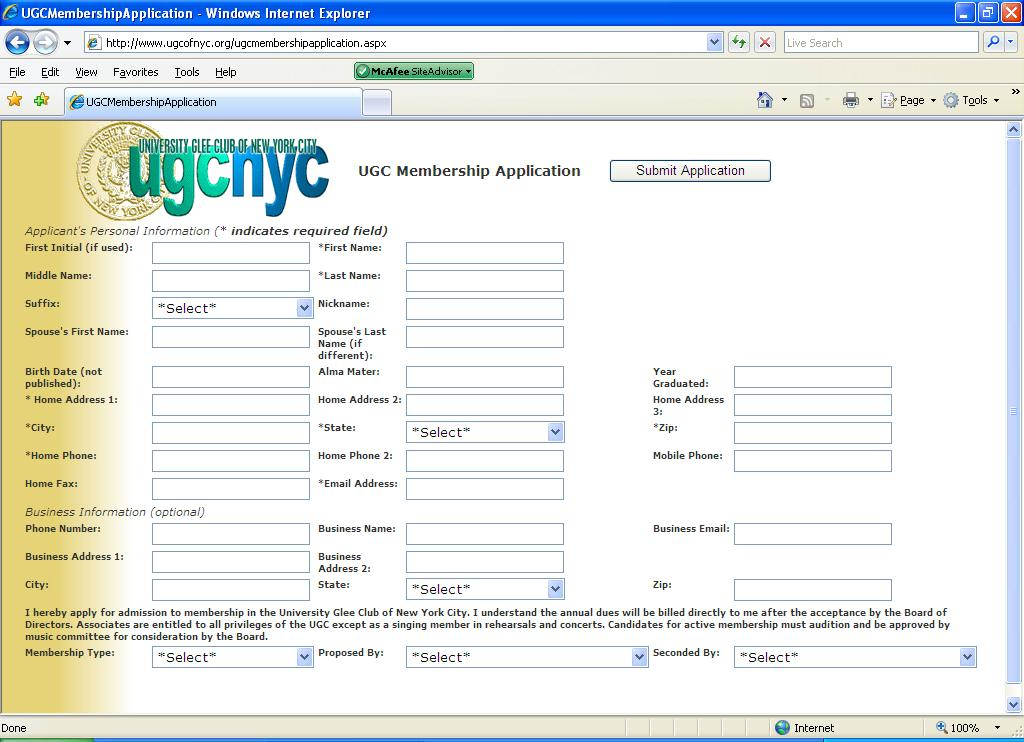 UGC Membership Application